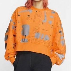 NEW NIKE Orange Cropped Oversized Sweater Sz M